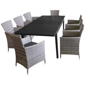 9tlg Gartengarnitur Gartentisch, ausziehbar, Tischplatte Polywood Schwarz, 160/210x95cm + 8x Rattansessel, Polyrattanbespannung Grau-meliert, inkl. Sitzkissen - WOHAGA®