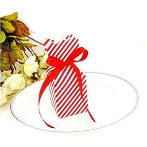 JZK 50 x Geschenkbox Gastgeschenk Kartonage Schachtel klein Süßigkeiten Kartons Bonboniere Kasten, Tischdeko Box für Hochzeit Geburtstag Babyparty Party (rot)