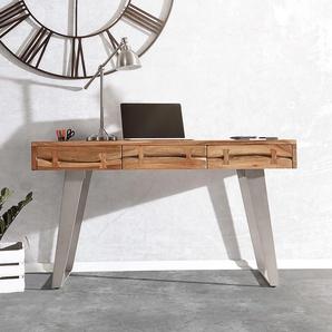 Schreibtisch Live-Edge 137 cm Akazie Natur Baumkante, Schreibtische, Baumkantenmöbel, Massivholzmöbel, Massivholz, Baumkante, Wolf Live Edge