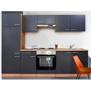 Respekta Küchenzeile KB270BGE 270 cm Grau-Buche Nachbildung