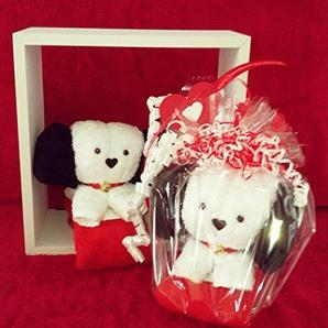 Handtuchfigur/Handtuch-Tier Kleiner Hund in weiß, geschenkfertig verpackt