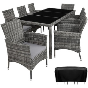 Rattan Sitzgruppe Valencia 8+1 mit Schutzhülle - Gartenlounge, Terrassenmöbel, Rattan Lounge - grau - TECTAKE