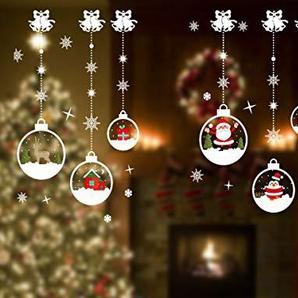 VDROL Weihnachtskugeln Fensteraufkleber, Wasserdichte Hängende Tropfen Wandaufkleber Tür Fenster Cling Aufkleber Home Shop Dekoration