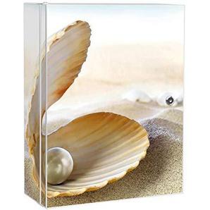 banjado Medizinschrank groß abschließbar   Arzneischrank 35x46x15cm   Medikamentenschrank aus Metall weiß mit Motiv Perlenmuschel