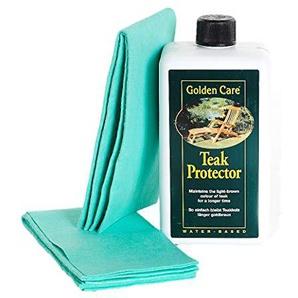 Golden Care Teak-Protector + 2 Applikatortücher Holzschutz Holzpflege für Gartenmöbel