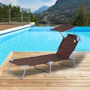 Outsunny® Sonnenliege klappbar mit Sonnenschutz braun