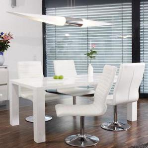 Esstisch-Gruppe weiß Hochglanz 160x90 cm recht-eckig mit 4 Lio Kunst-Leder Stühlen | Luca | Essgruppe Weiss mit 4 weißen Stühlen | Designer Tischgruppe mit ESS-Tisch weiß lackiert 160cm x 90cm 5 TLG.
