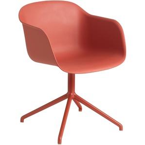 Muuto Fiber Swivel Stuhl Dusty Red (b) 51 X (t) 58 X (h) 76.5 Cm
