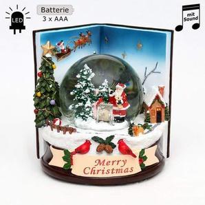 Wichtelstube-Kollektion XXL LED Schneekugel mit elektrischen Schneewirbel, Sound und Licht Weihnachtsbuch