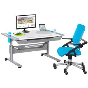 Schreibtisch Kreideweiß Nachbildung/Azurblau ca. 120 x 53-79 x 70 cm