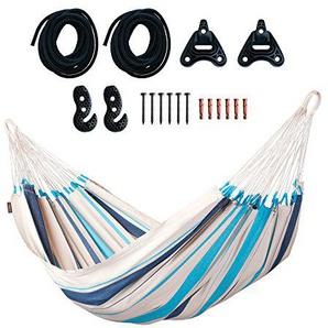 LA SIESTA Caribeña Aqua Blue - Klassische Einzel-Hängematte aus Baumwolle inkl. Befestigungsset