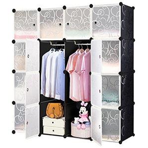 MCTECH® Regal Garderobe Kleiderschrank Schrank Steckregal Regalsystem Standregal DIY (16 Boxen, Schwarz)