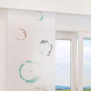 Flächengardine  von LYSEL® Ringe lichtdurchlässig mit Kreisen in den Maßen 245 cm x 60 cm blau/beige türkis grau
