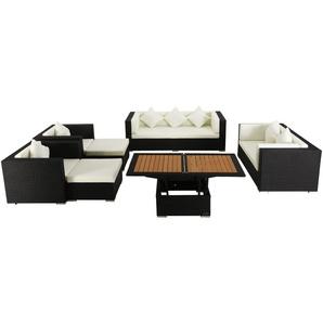 OUTFLEXX Loungemöbel-Set, schwarz, Polyrattan, für 9 Personen, inkl. Loungetisch, wasserfeste Kissenbox