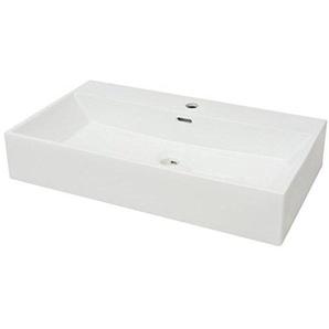 vidaXL Waschbecken mit Hahnloch Keramik Weiß Aufsatzwaschbecken Waschplatz