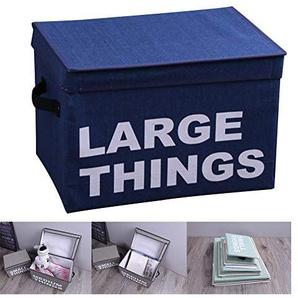 Baumwolle und Linen Storch Box Folding Art Printing Letter Storage Box mit Deckelkleidung Storage-Box,Blue,41 * 28 * 28