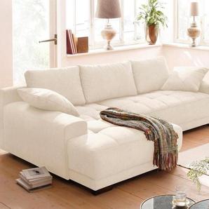 Home affaire Ecksofa »Roberto«, wahlweise mit Bettfunktion, beige, Microfaser PRIMABELLE®