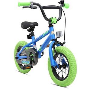 BIKESTAR Freestyle Sicherheits Kinderfahrrad 12 Zoll für Mädchen und Jungen ab 3-4 Jahre ? 12er Kinderrad Kinder BMX ? Fahrrad für Kinder Blau & Grün