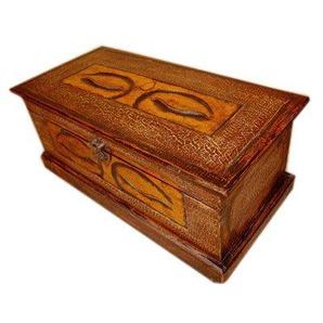Unbekannt Holztruhe Truhe Buddha Eye H 25 cm, B 60 cm, T 30 cm