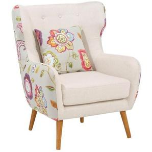 Home affaire Ohrensessel »Missouri«, zweifarbig mit tollem Blumenmuster, bequeme Sitzpolsterung, Sitzhöhe 57 cm, beige, Tweed