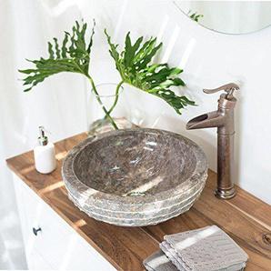 wohnfreuden Marmor Stein-Waschbecken BASCOM ROWFISH 40 cm graurund außen gehämmert innen poliert ? Handwaschbecken Steinwaschschale Naturstein-Aufsatzwaschbecken für Bad Gäste WC