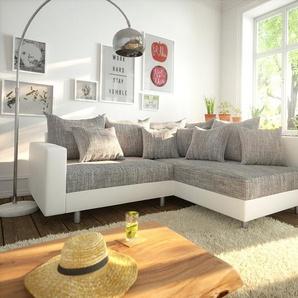 Ecksofa Clovis Weiss Hellgrau modular Armlehne Ottomane Rechts, Design Ecksofas, Couch Loft, Modulsofa, modular