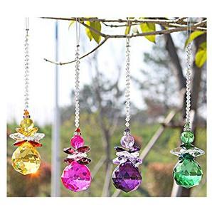 H&D Fengshui Suncatcher Anhänger Engel Fenster Kristall Rainbow Maker Kronleuchter Ball Prism, Set von 4