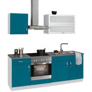 WIHO Küchen Küchenzeile mit E-Geräten »Amrum«, Breite 210 cm, blau