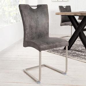 Moderner Freischwinger Stuhl BUFFALO vintage grau mit Edelstahlgestell