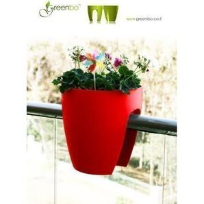 GREENBO Blumenkasten ROT aus Kunststoff - Balkonkasten Balkonpflanzkasten Balkon - auch in weiteren Farben bei uns erhältlich (keine Halterung notwendig)