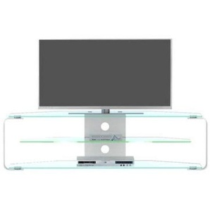 Jahnke TV Rack, Aluminium, klarglas/alu geschliffen, 144 x 40 x 40 cm