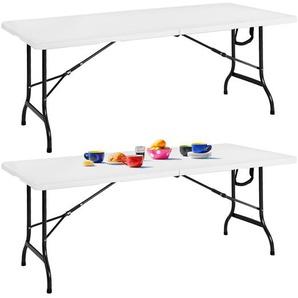 2x Klapptisch Gartentisch klappbar 183cm weiß aus Kunststoff / Metall - DEUBA