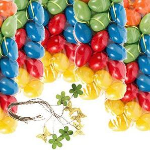 hegro-grosshandel Set Bundle mit 120 Kunststoff Ostereiern 6cm und Dekoration (kräftig)