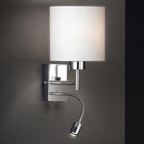FISCHER & HONSEL Retrofit Wandlampe mit LED Leselicht 2 flg MAINZ Chrom mit rundem Schirm