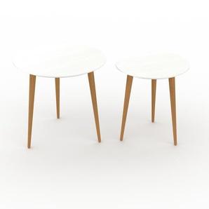 Couchtisch Weiß - Eleganter Sofatisch: Beste Qualität, einzigartiges Design - 50/40 x 47/44 x 50/40 cm, Konfigurator