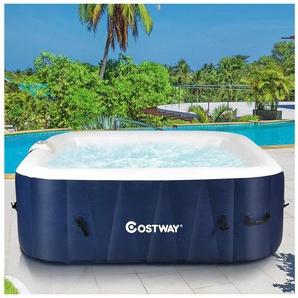COSTWAY Whirlpool aufblasbar, Massage Spa Pool mit Heizfunktion,Outdoor Massagepool fuer 4-6 Personen 185 x 185 x 65 cm