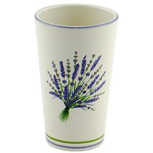 Zahnputzbecher Lavendel Keramik beige lila