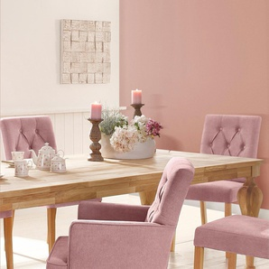 Home affaire 4-Fußstuhl mit Knopfsteppung, rosa, FSC-Zertifikat, »Regina«, , , strapazierfähig, FSC®-zertifiziert