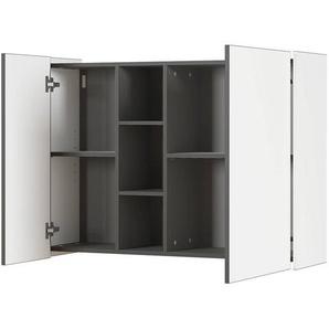 Hängeschrank Wohnwand VARESE-01 in weiß & graphit, mit Dämpfung - B/H/T: 103/75/30cm