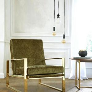 Guido Maria Kretschmer Home&Living Sessel »Melnwai«, mit elegantem, vergoldetem Metallgestell und weichem Samtchenille Bezug
