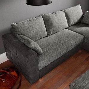 sit&more Ecksofa, inklusive Bettfunktion und Bettkasten, schwarz, Luxus-Microfaser ALTARA NUBUCK® / Struktur