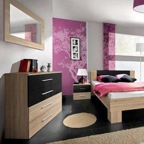 JUSTyou VICKA II 160 Schlafzimmerset Schlafzimmerkombination Schlafzimmer Komplett Eiche Schwarz
