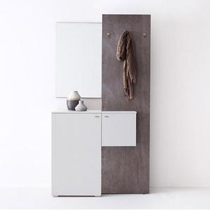 MCA Zara Garderobenkombination 3-tlg. 110x40x205cm Weiß/Beton-Optik Weiß/Beton