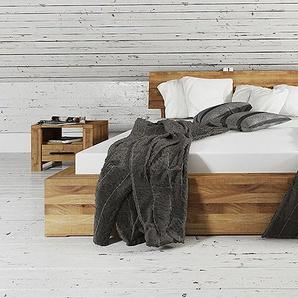 Bett CUBIC mit durchgehenden Holzkopfteil Buche Eiche massiv