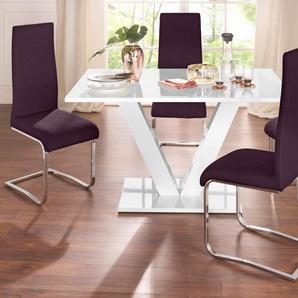 Essgruppe mit 4 Stühlen und Tisch in weiß Hochglanz