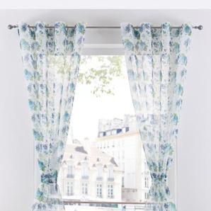 Transparente Gardine mit Blumen Druck (1er Pack) weiß