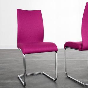 Moderner Design Freischwinger Stuhl SUAVE magenta mit Chromgestell