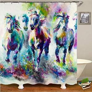 YLXINGMU Duschvorhang Abstrakt Lackiertes Weißes Pferd 3D Digitaldruck Polyestermaterial 180Cm(W)×200Cm(H)