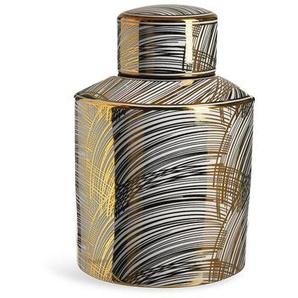 Vase mit Deckel, D:14cm x H:21cm, gold