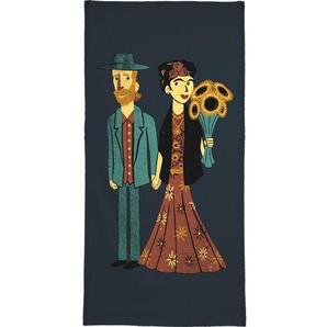 Handtuch »Love Is Art Frida Kahlo and Van Gogh«, Juniqe, Weiche Frottee-Veloursqualität